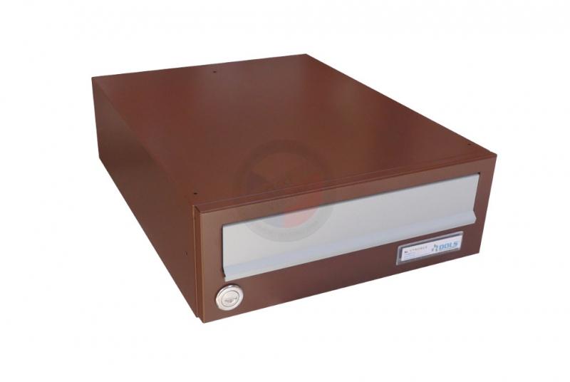 VÝPRODEJ - Poštovní schránka B-01 - RAL 8011 hnědá + sklapka v RAL 9006 stříbrné