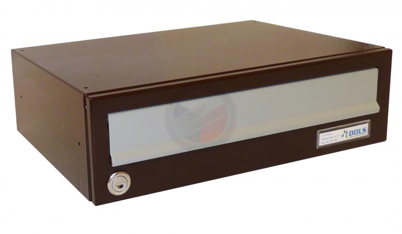 VÝPRODEJ - Poštovní schránka B-017 - RAL 8017 hnědá (lesk) + sklapka v RAL 9006 stříbrné