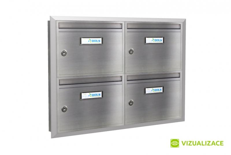 SESTAVY POŠTOVNÍCH SCHRÁNEK - Poštovní schránka E-011 - pro zazdění s orámováním -  NEREZ